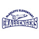 "McAuliffe logo: space shuttle and the words ""McAuliffe Elementary Challengers"""